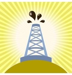 Oil derrick banner vector
