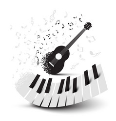 piano keys and guitar with notes vector image vector image