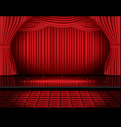 red stage curtain with seats and copy space vector image