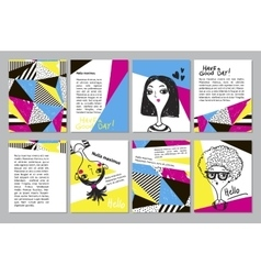 Set of creative universal geometric doodle cards vector image vector image