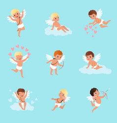 set of cute cupid boys in different actions vector image