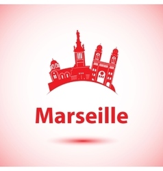 silhouette of Marseille France vector image vector image