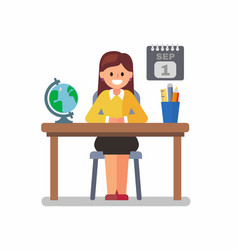 Teacher in class room vector