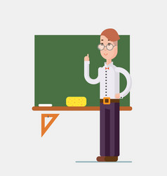 Teacher standing in front of blackboard in vector