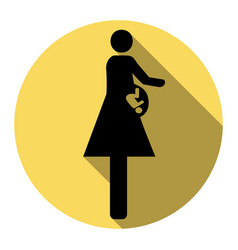 Women and baby sign flat black icon with vector