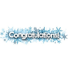 Congratulations banner with blue snowflakes vector
