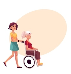Young woman strolling grandmother in wheelchair vector