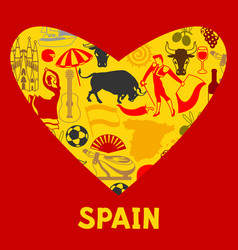 Spain background in shape of heart spanish vector