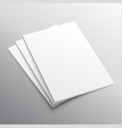 Stack of three a4 paper mockup display vector