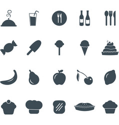 Solid flat food icons set graphic design elements vector