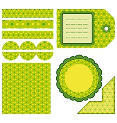 Easter set of green design elements vector