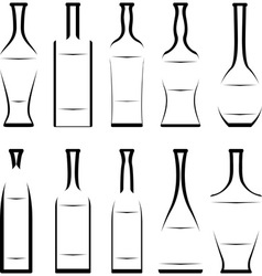 Set of stencil of bottles vector