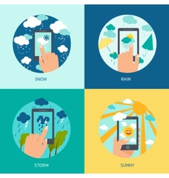 Weather smart phone set vector