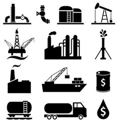 Oil gas and petroleum icons vector