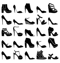 Set of 25 fashionable shoes vector