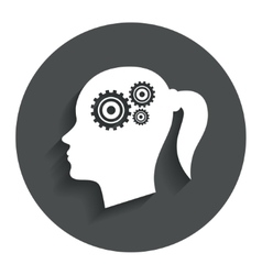 Head with gears sign icon female woman head vector
