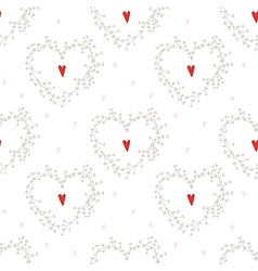 Seamless pattern with hearts and wreathes vector