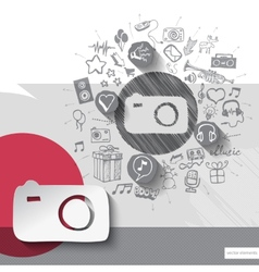 Hand drawn photo camera icons with icons vector