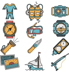 Scuba equipment flat style icons vector