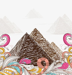 Egypt - hand drawn pyramids doodle vector