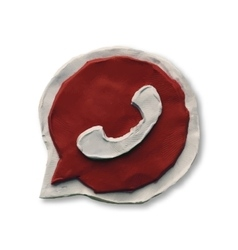 Red phone handset in speech bubble icon vector