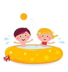 Cartooon kids in pool vector