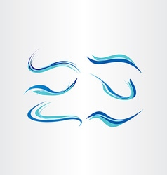 Stylized blue water wave brush set vector