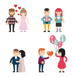Happy couples in love valentine day men and women vector
