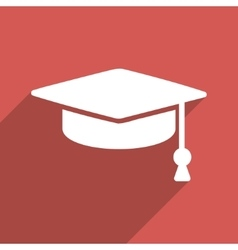 Graduation cap flat long shadow square icon vector