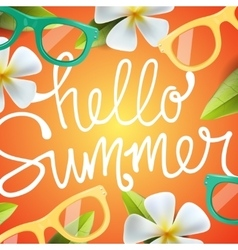 Hello summer background with tropical flowers vector