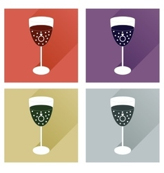 Set of flat icons with shadow glass champagne with vector