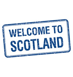 Welcome to scotland blue grunge square stamp vector
