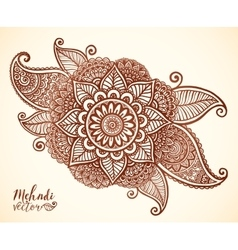 Brown henna colors floral element in indian vector