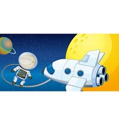 A young boy exploring the space vector
