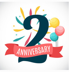 Anniversary 2 years template with ribbon vector