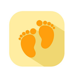baby footprints flat color icon newborn baby vector image vector image