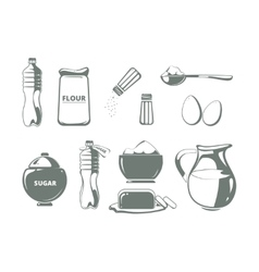 Baking ingredients monochrome set vector image