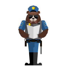 Bear policeman wild animal police form cap and vector