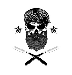 Bearded skull with blades vector