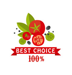 best choice 100 percent badge for healthy food vector image