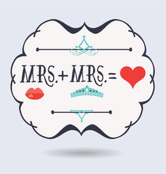 black abstract emblem with conceptual mrs plus mrs vector image vector image