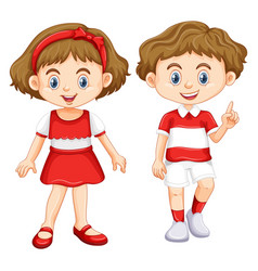 Boy and girl wearing shirt with red and white vector