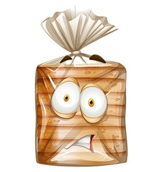 Bread package with scared face vector