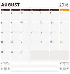 Calendar Template for August 2016 Week Starts vector image