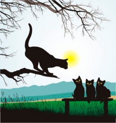 cat school jumping vector image vector image