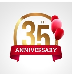 Celebrating 35th years anniversary golden label vector image vector image