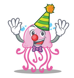 clown cute jellyfish character cartoon vector image