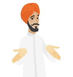 confused hindu businessman shrugging shoulders vector image