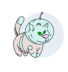 Cosmic cat in space suit vector