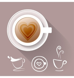 Cup of coffee and some cup icons vector image